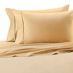 Deluxe' Solid Bed Sheet Set 100 Percent Egyptian Cotton Fine Single Yarns 1800 Thread Count Features Indulgently Soft Surface with a Lovely Sheen!! Set includes Fitted, Flat and Pair of Pillow Cases. Deep Pocket Fitted Sheet up to 18 Inches (Queen, Gold)