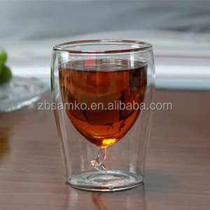 Heat-resistant shot double wall glass cup