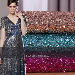 Gold Flocking Polyester Bronzing Sequin Lace Fabric for Dress Sequin Embroidery Lace Fabric