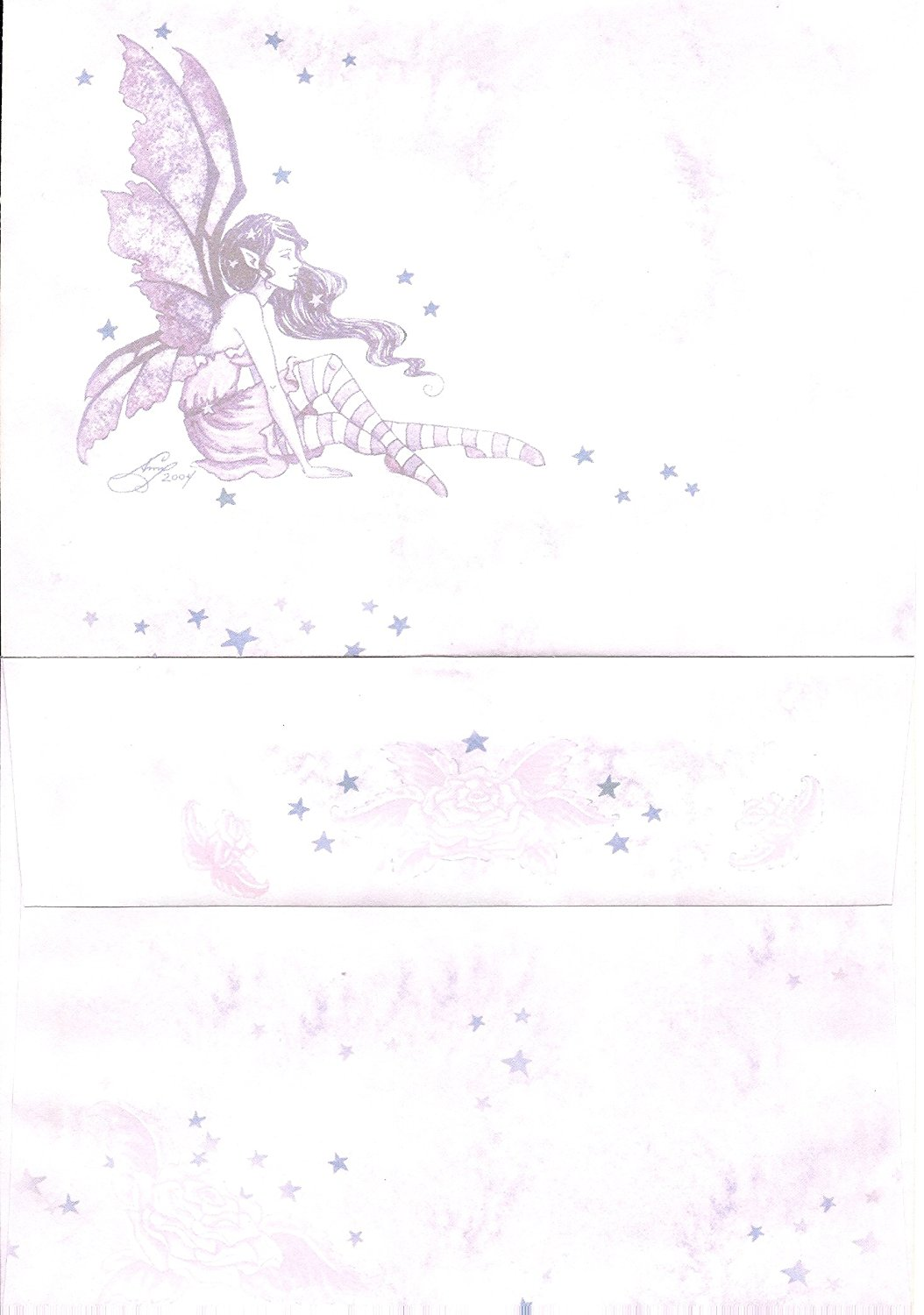 "Amy Brown 24 Count Envelopes Fairy with Roses and Stars 7.25"" x 5.25"" ~ Pink/Lavendar"