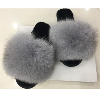 Wholesale Ladies Slides Furry Sandals Soft Fox Fur