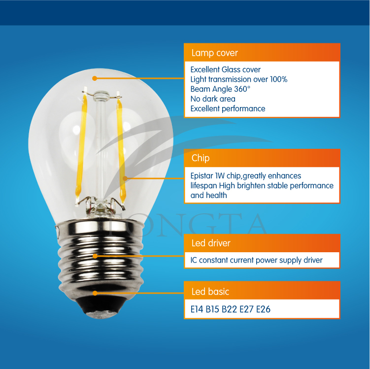 Zhongshan New Product Led Bulb Price Dimmable E27 Filament Bulb ...