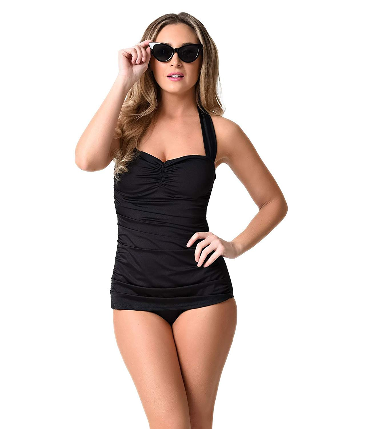04e21e0fb463c Get Quotations · Esther Williams Vintage Inspired 1950s Black Sheath  Swimsuit