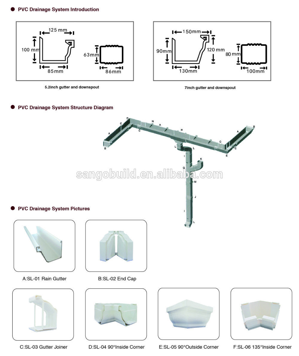 Pvc Square Gutter Downpipe Fittings Round Rain Gutters