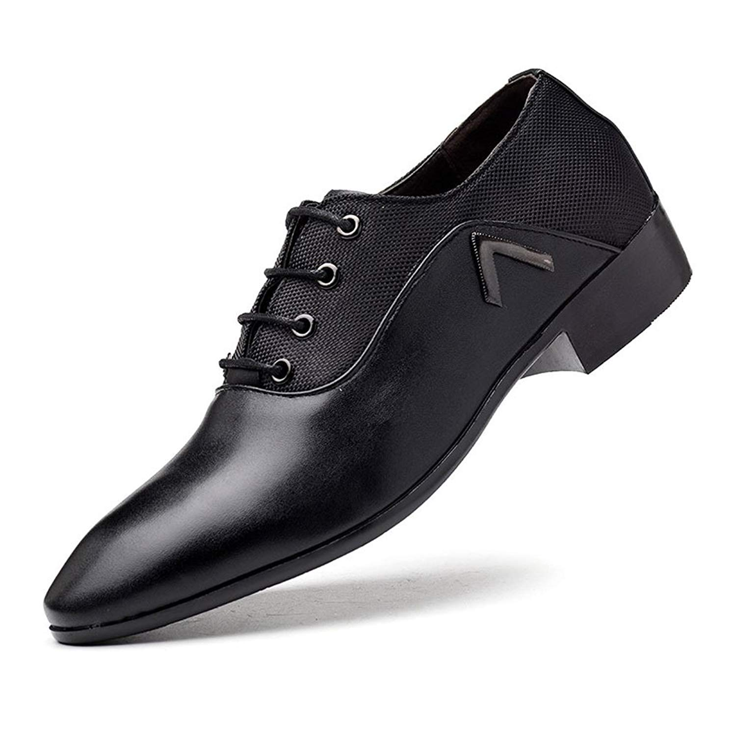 Muyin Men's Lace up Shoes Black Heel Business Oxfords with PU Leather Splice Breathable Canvas Vamp