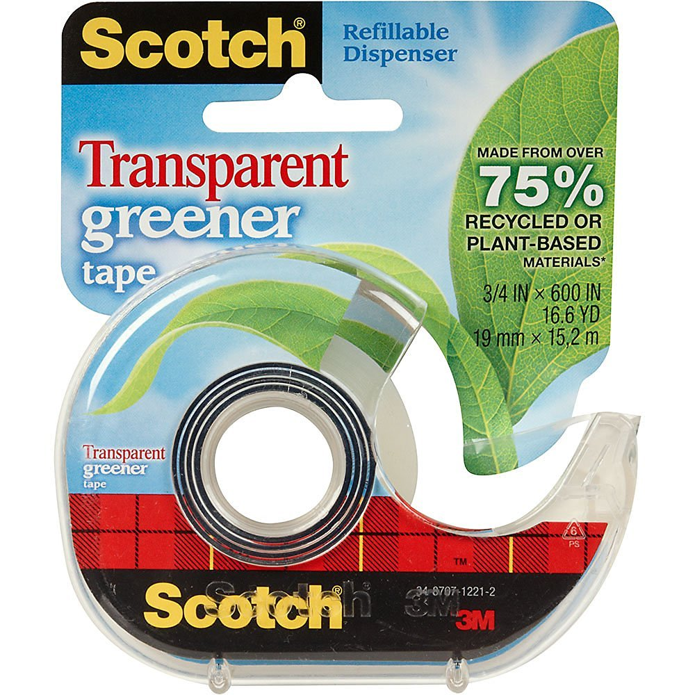 "Wholesale CASE of 25 - 3M Scotch Transparent Greener Tape w/ Dispenser-Eco-Friendly Tape, Refillable Disp, 3/4""x600"", Clear"
