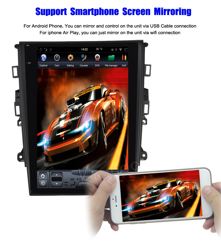 Krando Vertical screen android car radio multimedia for ford mondeo 2013+ big screen navigation with gps system