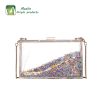 2018 Trong Suốt Sequins Acrylic Evening Túi Xách Clutch Purse