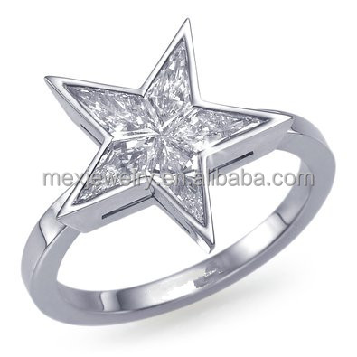 Kite Star Shape CZ Invisibly Bezel Diamond Ring nickel free