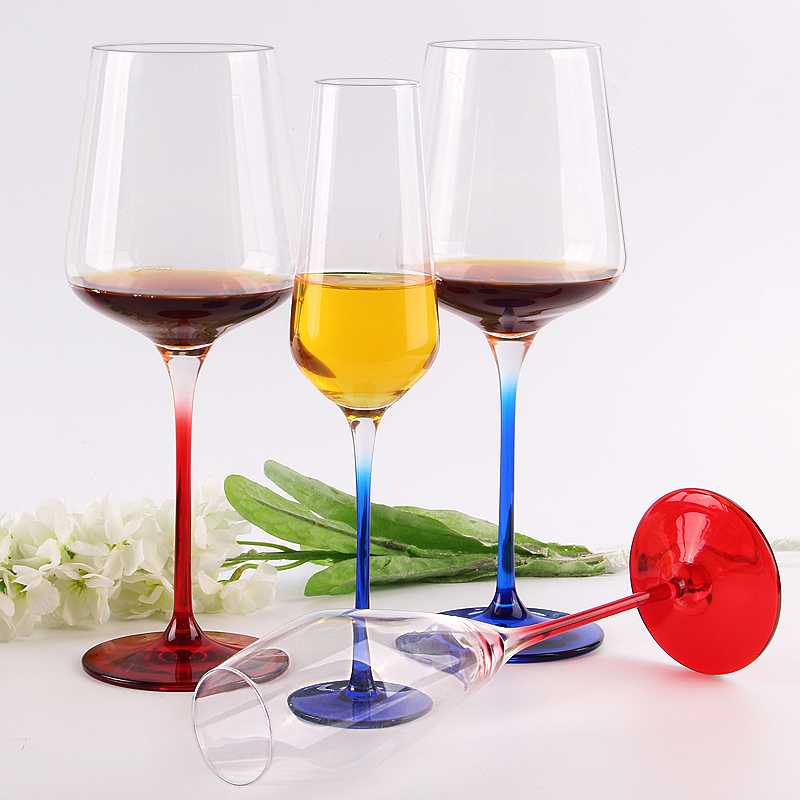 Cheap Crystal Clear Goblet Colored Red Wine Glass Cup
