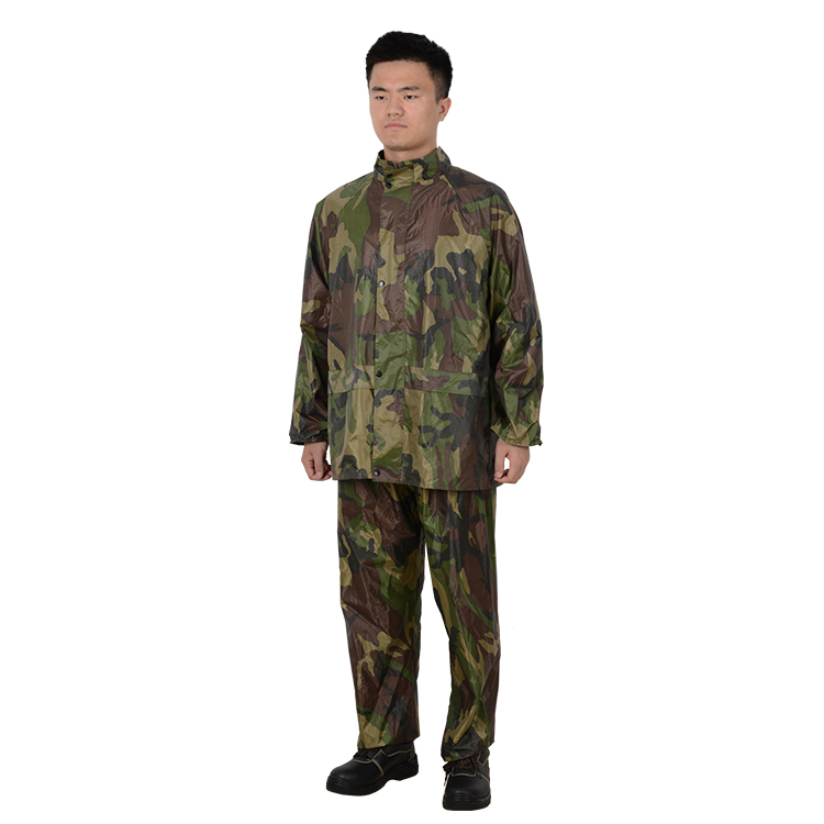 Rain Jacket With Elastic Waiet Pants Rubberized PVC Hooded Camouflage Rain Suit