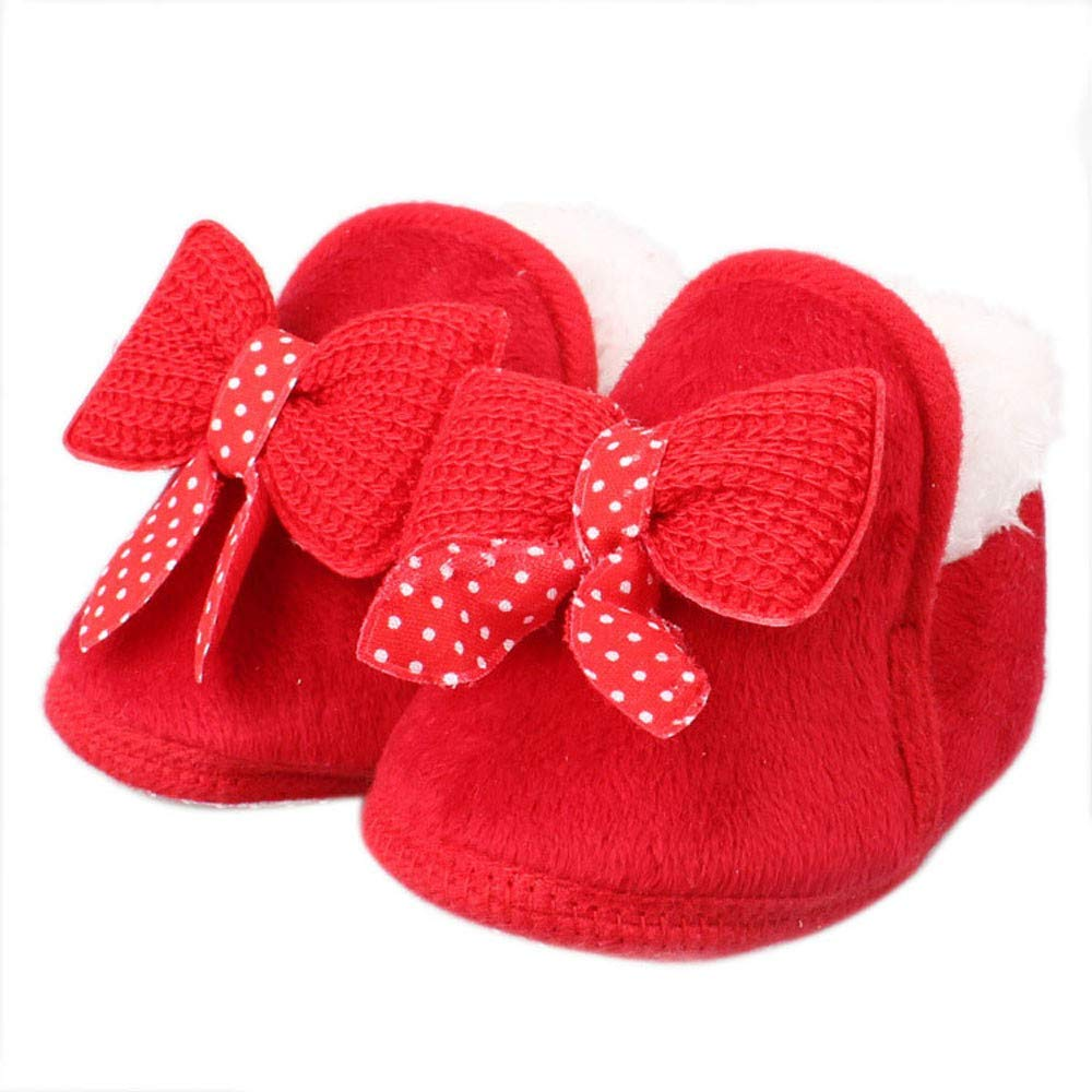 Jshuang Baby Cotton Shoes Red, Bed Shoes Soft Boots, Baby Shoes, Baby Shoes, 3-12M Bow-Knot Newborn Shoes (Red, 12)