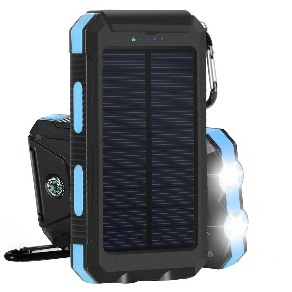 Solar Charger 10000mAh Power Bank Amersin Portable External Backup Battery Pack with 2 LED Dual USB Solar Panel Charger for Outdoor Camping Climbing Emergency Using SOS Cellphone Charger (Blue)