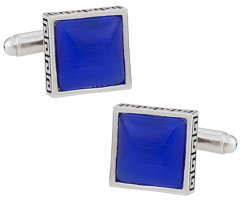 Cuff-Daddy Elegant Blue Silver Catseye-style Square Cufflinks Framed silver-tone with Presentation Box