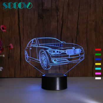 SOCOVE SC3D- 009 Color Changing Car Shape Custom Night Light for Wholesale Gifts