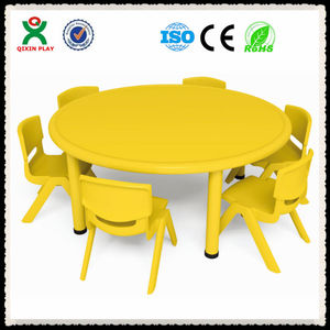 Modern cheap folding study table for kids, kids plastic study table design, kids round table chair set QX-194D