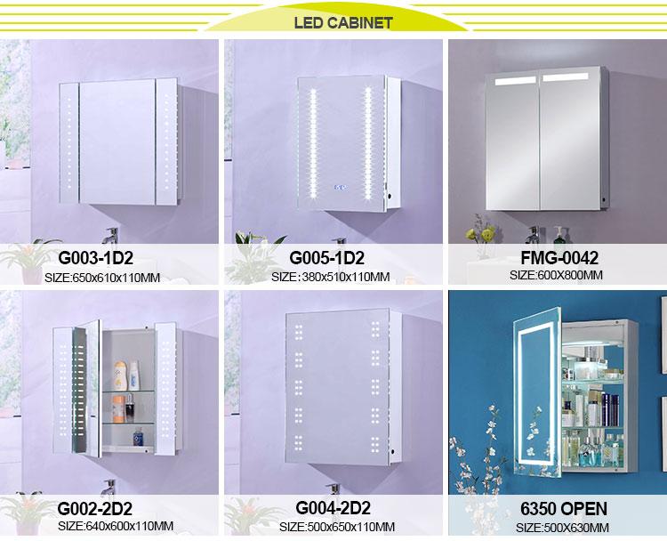 โรงงานยินดีต้อนรับสู่ custom led กระจกห้องน้ำสามเหลี่ยมตู้กระจกมุมตู้ 2 ชั้น