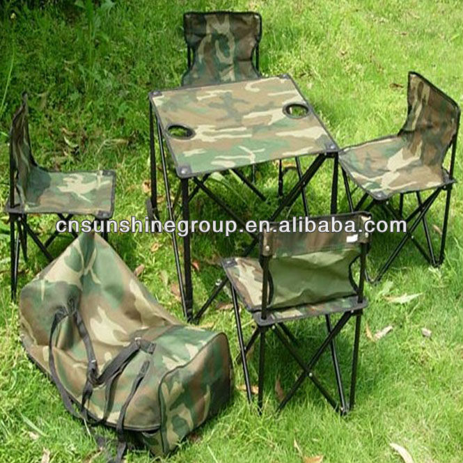 Foldable folding camping chair and table in carry bag for outdoor