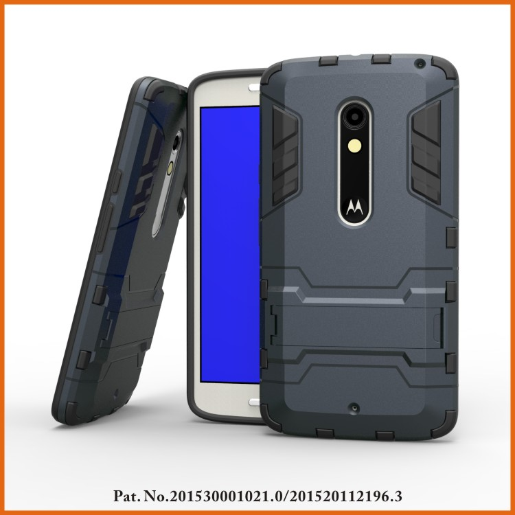 Kickstand rugged rubber phone cover for moto x play case