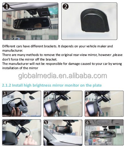 Auto Dimming Glass Car Rear View Monitor And Parking Sensors ...
