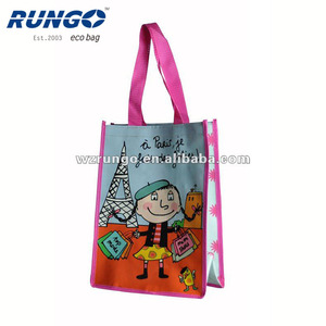 Promotional Double Handles Recycled Big Pp Woven Shopper Bags