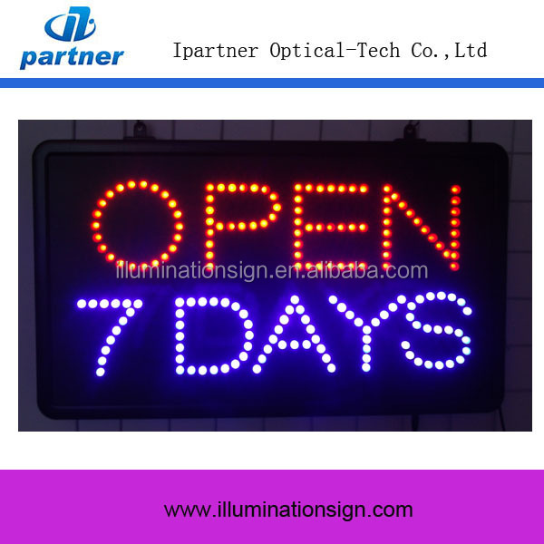 Hot Sale Rectangle 7 DAYS LED OPEN Sign