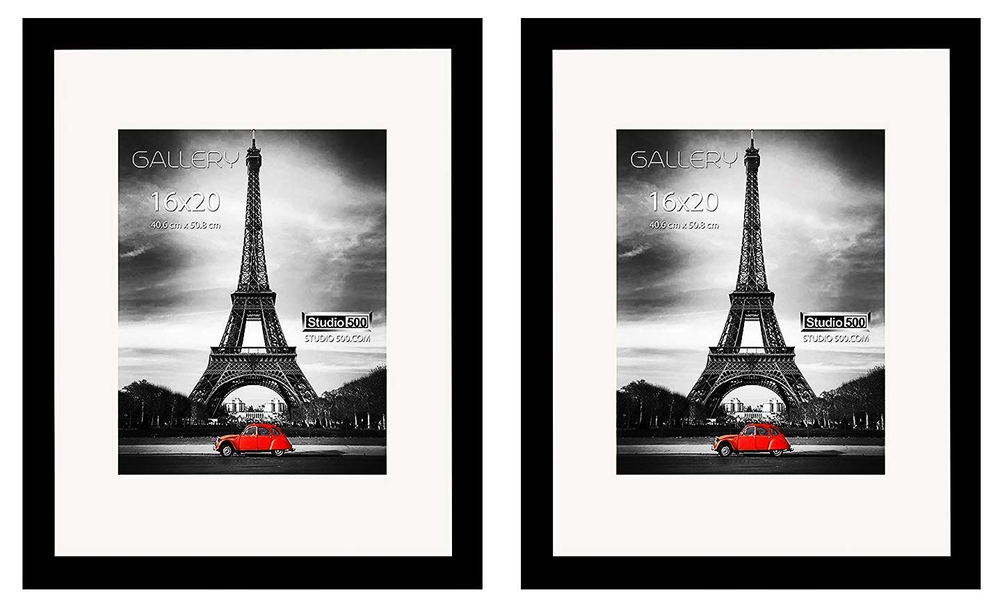 Studio 500-2 Pack Set of 16 by 20-inches 100% Real Wood Photo Frames, 100% Tempered Glass, Frames Come with 1pc White Core Beveled Mat, Matte Board for 11x14 Picture Opening, Comes in 2 Colors (Black)