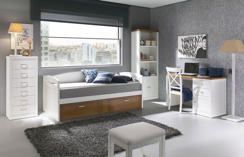 Muebles de dormitorio juvenil compacto con cama nido, De madera ...
