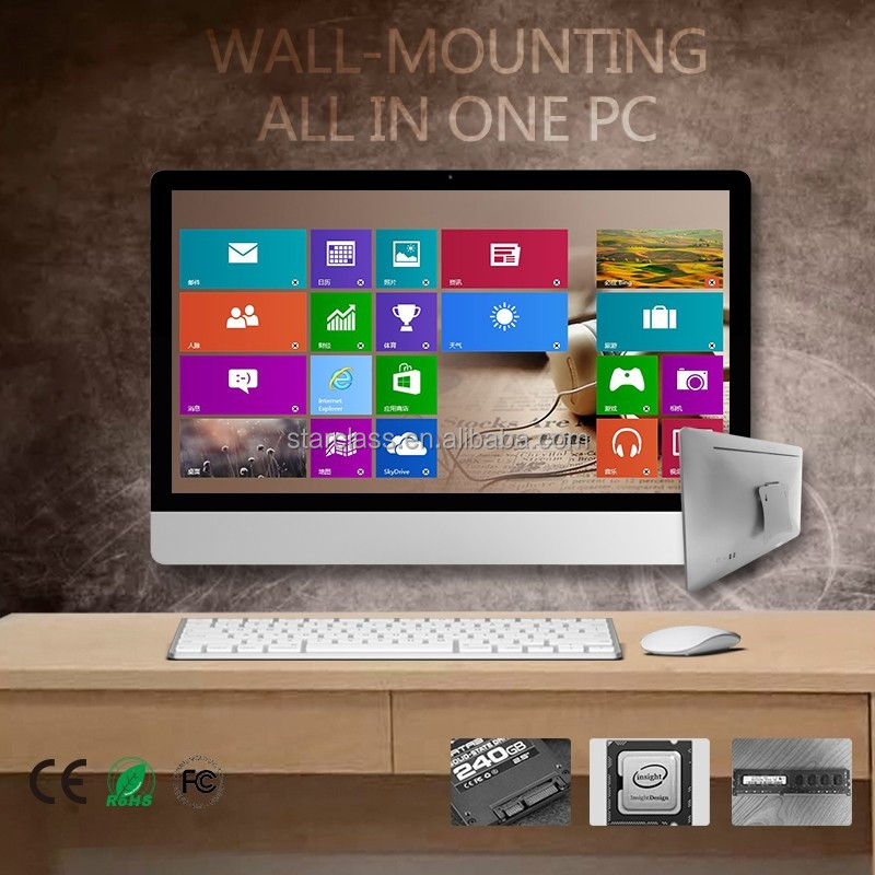 "Customized 19"" Alibaba stock intel processor i7-2670 hot HD movie download 24'' AIO pc with 1TB HDD LCD panel 320G SSD"