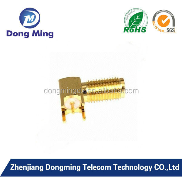 SMA female right angle coaxial connector for pcb mount