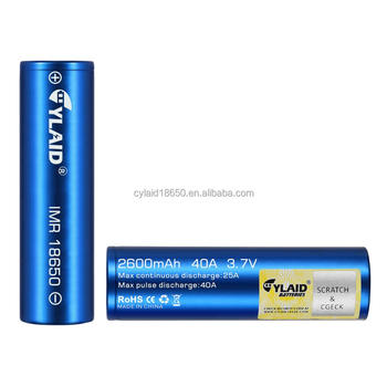 Newest high drain powerful wholesale price blue color cylaid 18650 2600mah 40A battery