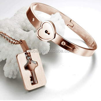 Heart Lock Key Love Bangle Bracelet Pendant Jewelry Set Rose Gold Plated