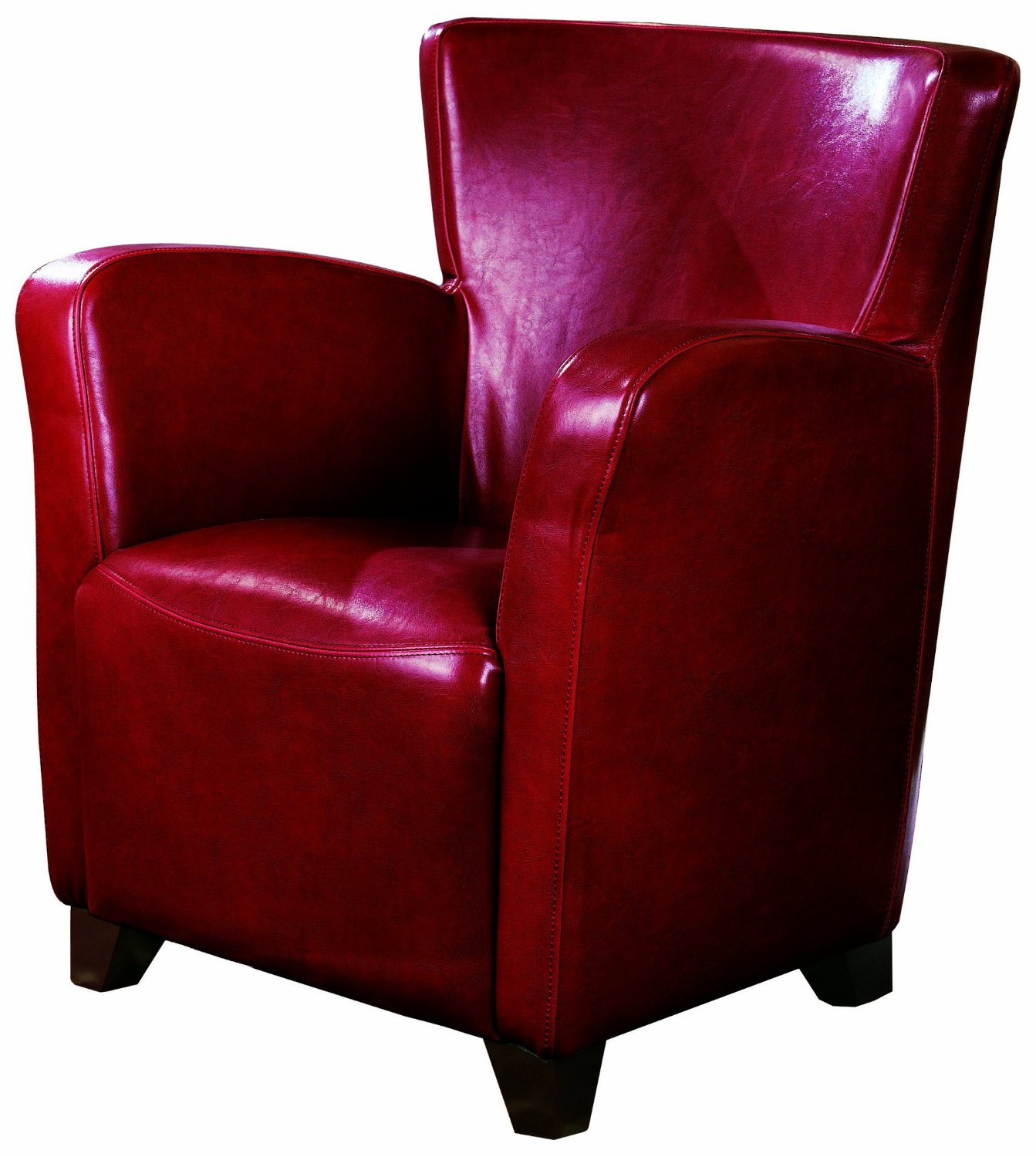 Coaster Transitional Faux Leather High Back Accent Chair, Red