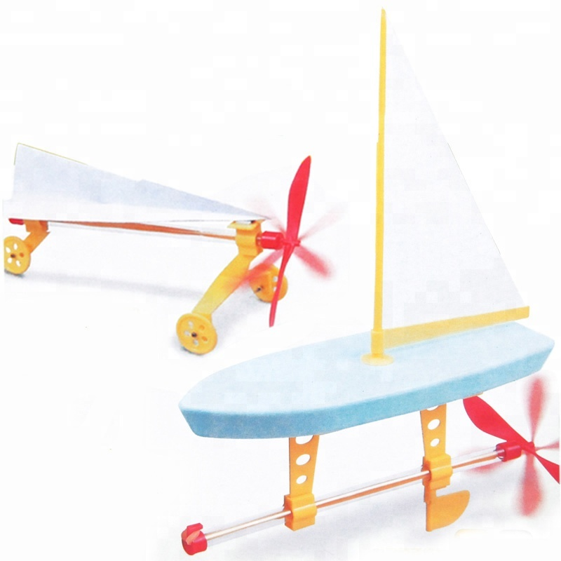 DIY Toy 2 In 1 Rubber Band Powered Engine Racing Car and Propeller Yacht for <strong>Kids</strong>