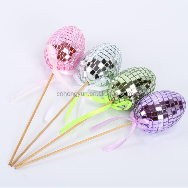 hot sale 5*7cm stick of shiny glass ball 2017 new decoration