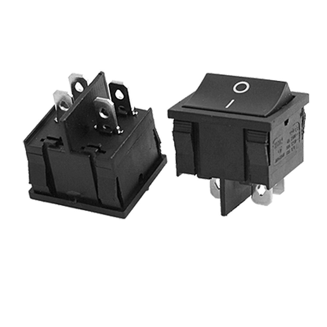 uxcell AC 6A/250V 10A/125V 4 Pin ON/OFF 2 Position DPST Snap In Boat Rocker Switch 5 Pcs
