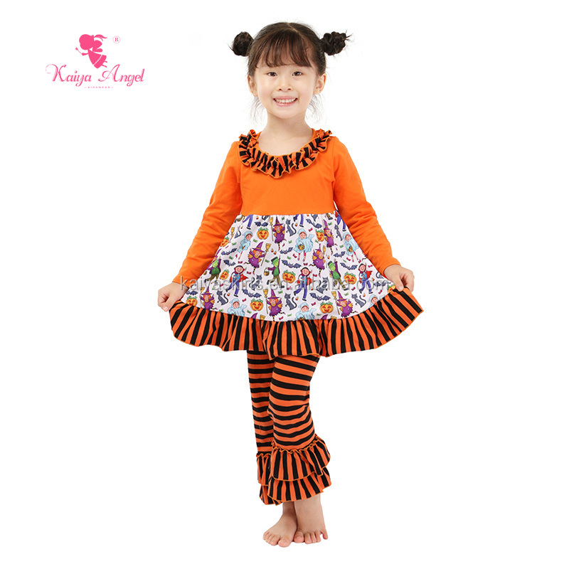 Wholesale baby girl's ruffle pants striple outfits halloween costumes for kids