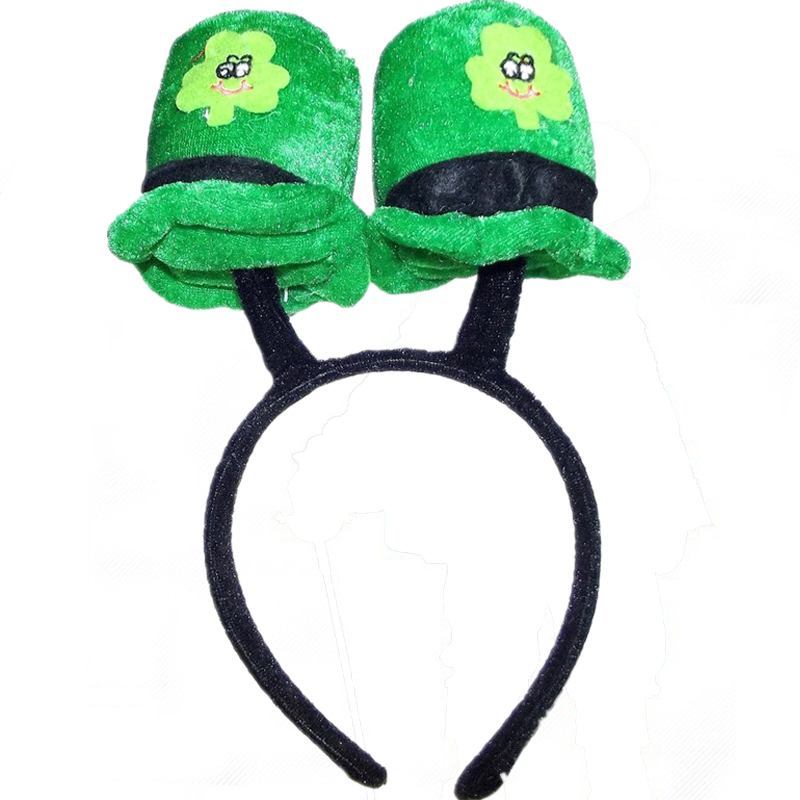 wholesale novelty velour mini top hat party headband for St. Patricks day
