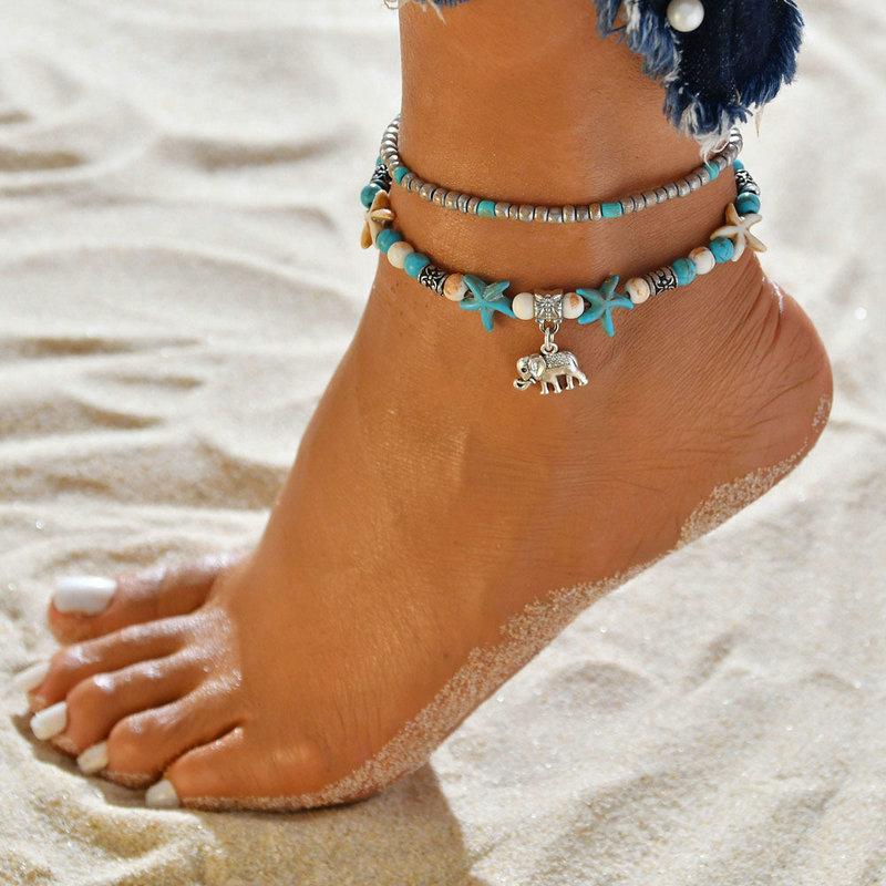 Barefoot Sandals Wedding Bridal Beaded Beach Foot Jewelry Blue