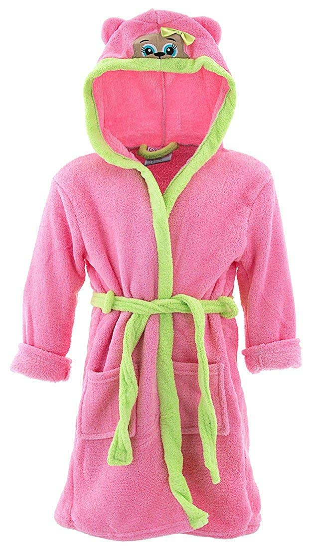 Sweet & Sassy Little Girls' Pink Puppy Hooded Bathrobe