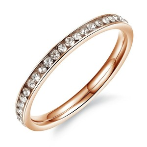 Marlary Rose Gold Plated Stainless Steel With Crystal Ladies Daily Wear Rings Latest Ring Designs For Girls