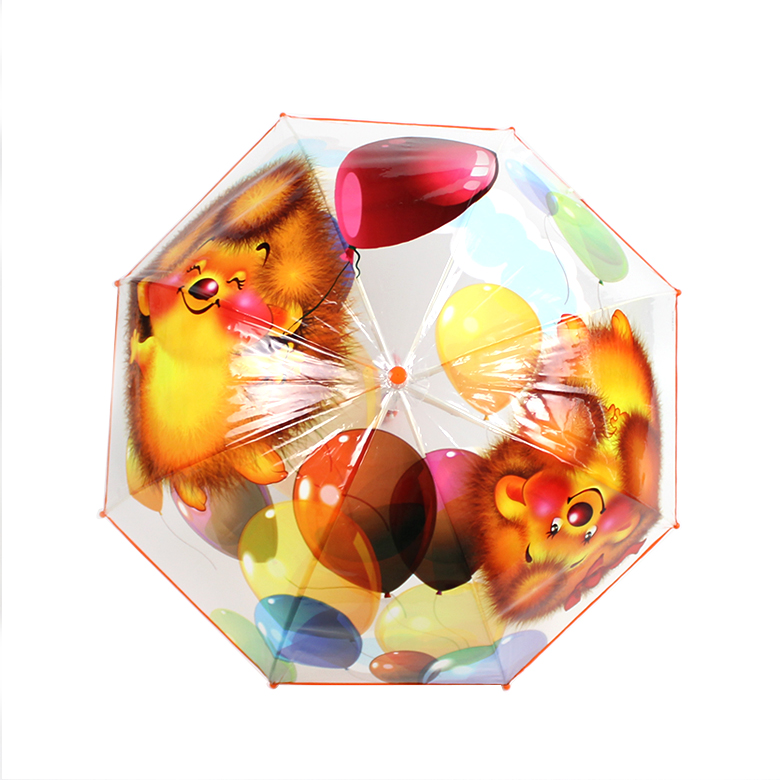 POE clear transparent cute little tiger and butterfly print animal cartoon children umbrella