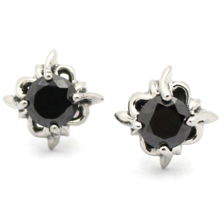 Fashion Men Women Punk Black Zircon Stud Earrings Stainless Steel Onyx For Bos
