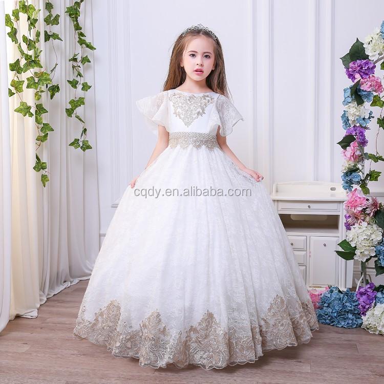 New White Bridesmaid Flower Girl Long Dresses Applique Ball Gowns Elegant Formal