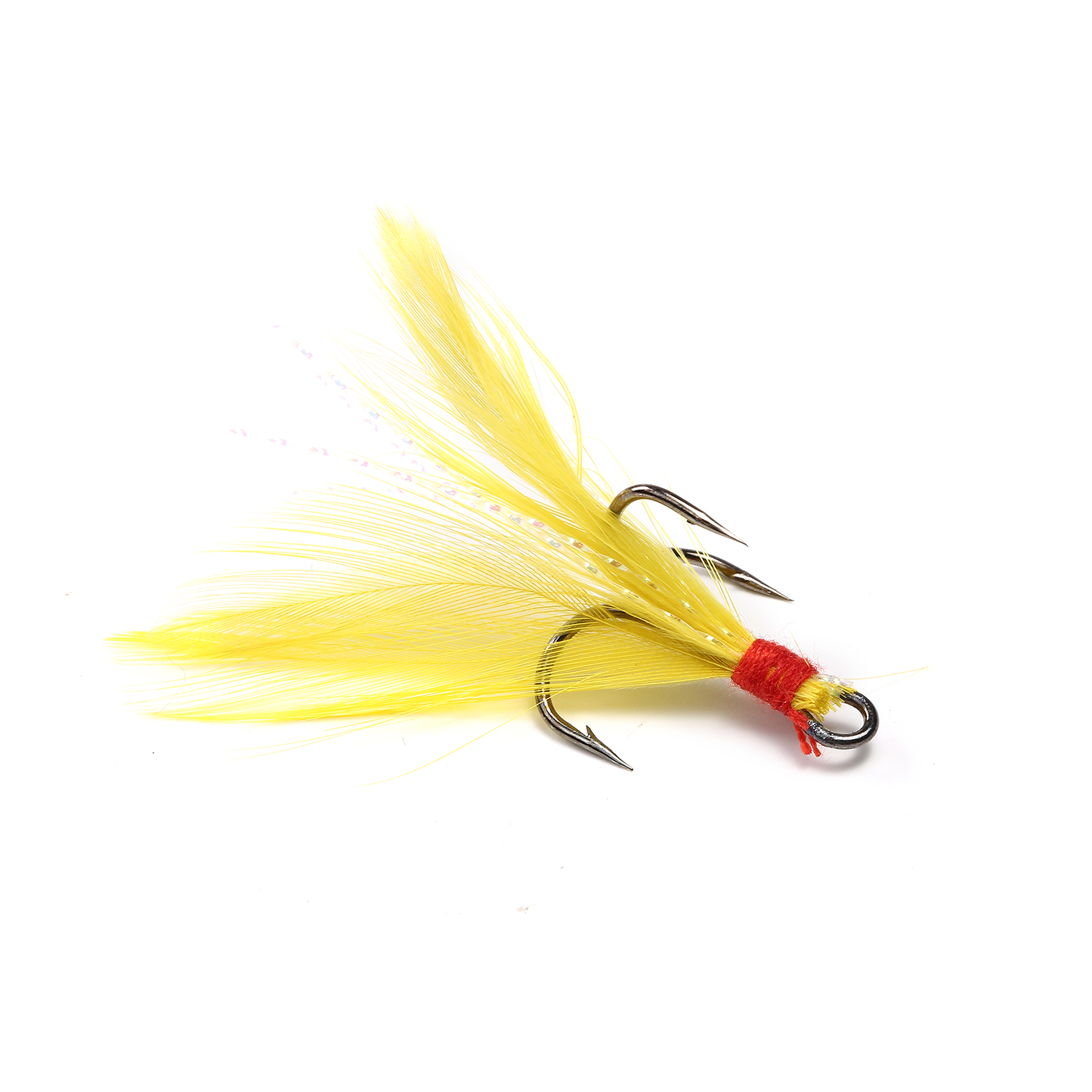 15pcs/Box Mixed Color Combination High Carbon Steel Treble Fishing Hook With Artificial Bright Feather Fishing Bait Lure