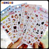 Newest selling custom design cartoon dolls printing puffy stickers with different colors