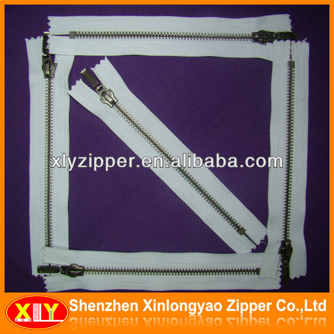 metal cotton tape zippe with auto lock slider