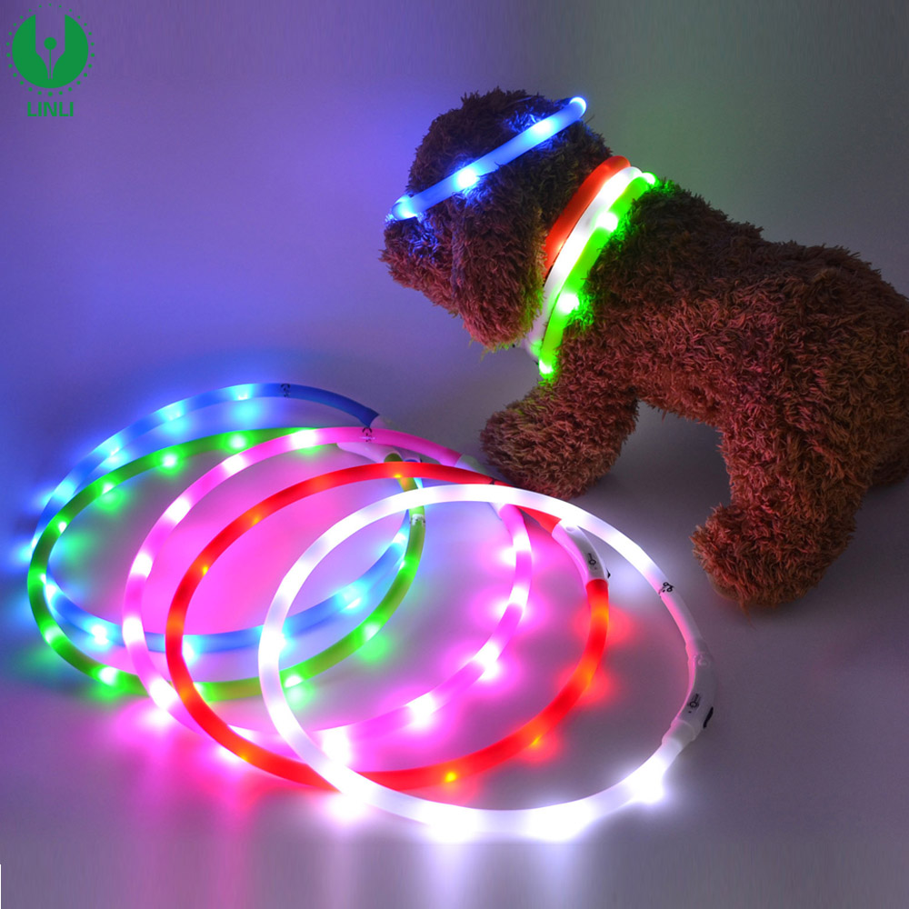 Wholesale Silicone Rechargeable Flashing Light Led Pet Collar, Glow Led Dog Collar With Logo