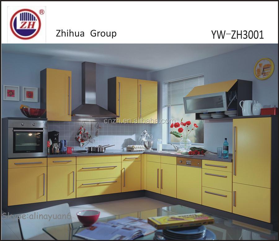 Warna Kuning Hangat Kabinet Dapur Modern Desain Furniture