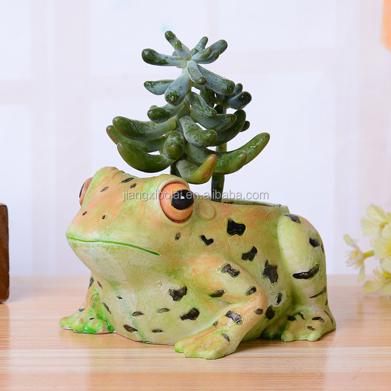Garden ornament resin frog flower planter pots